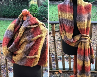 Scarf Shawl Wrap in Mustard and Brown Boucle