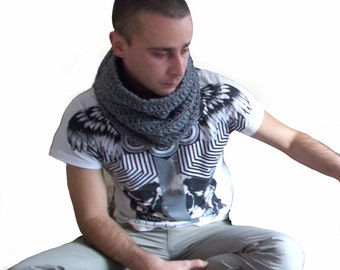 Mens  infinity scarf - Dark grey crochet scarf - Warm winter scarf - Tube scarf - Circle scarf - Gift for him - Winter accessories