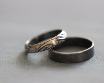 EMMA: Wedding Rings, Set, Wedding Bands, Sterling Silver, Botanical, Modern, Minimal, His and Hers, Rustic, Bohemian,  Made To Order