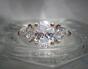 Warmer White Precision Cut 9x7mm Oval Cubic Zirconia and 5mm Trillion Sterling Silver Ring Made to Order