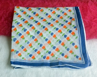 Handkerchief - Unused - Blue Tulips, Orange Hearts, Cotton - Vintage - Fabulous!