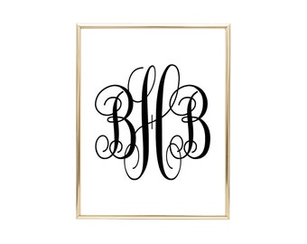 YOU PRINT CUSTOM Monogram - Printable Wall Art, Choose letters, size, and colors! Home Decor, Wall Print, Initials, Wedding Gift