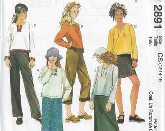 McCall's 2891 Size 12-14-16 Girls' Shirt, Skirt in Two Lengths and Pants in Two Lengths Sewing Pattern 2000 Uncut