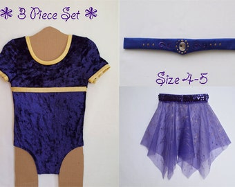 Purple Crushed Velvet Dance Set Includes Leotard with Gold Metallic Trim, Sheer Skirt with Glitter and Sequins and Headband