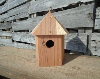 Hanging birdhouse - Cedar birdhouse - Outside birdhouse - Round birdhouse - Wooden birdhouse, Barn board birdhouse, Reclaimed wood birdhouse