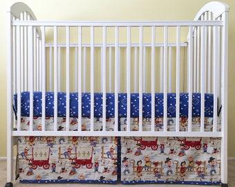 Lil Cowpokes CRIB BED SKIRT - Little Cowboys Crib Bedding - Western Theme Crib Skirt - Little Cowboy Pleated Crib Skirt