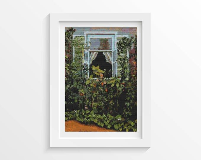 Cross Stitch Pattern PDF, Embroidery Chart, Art Cross Stitch, Window by Victor Borisov-Musatov (BORIS01)