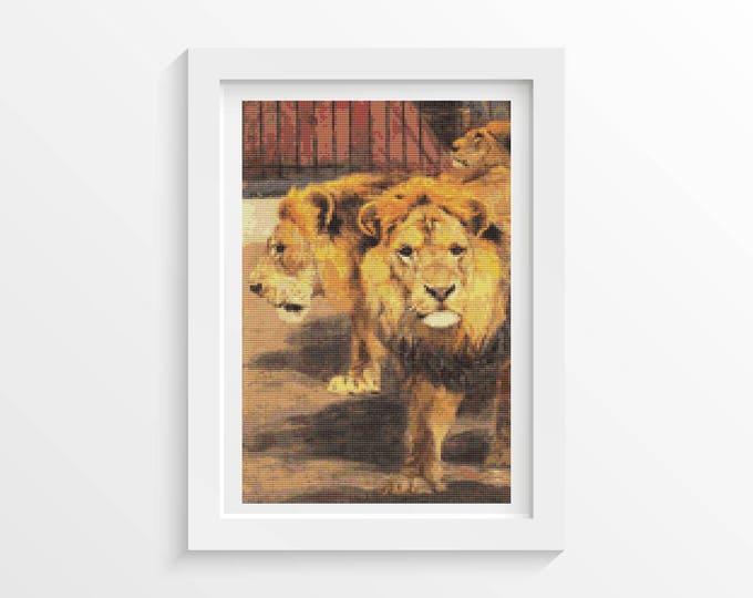 Cross Stitch Pattern PDF, Embroidery Chart, Art Cross Stitch, Three Circus Lions by Friedrich Wilhelm Kuhnert (KUHNE03)