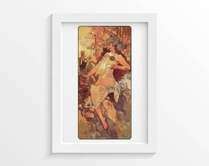 Cross Stitch Pattern PDF, Embroidery Chart, Art Cross Stitch, Woman Cross Stitch, Autumn by Alphonse Mucha (MUCHA02)