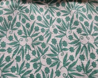 Vintage FULL Unopened Feed Sack Feedsack Fabric Material Teal Jade Flowers BEAUTIFUL