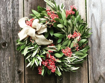 "14"" Fresh Bay, Olive and Peppercorn Wreath"