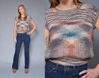 70s Space Dyed Short Sleeve Sweater S Mauve Blue Hippie Boho Cap Sleeve  Geometric Preppy Crop Sweater