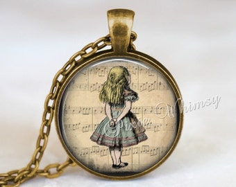 ALICE In WONDERLAND Necklace Pendant Vintage Alice In Wonderland Jewelry,  Alice In Wonderland Keychain, Sheet Music