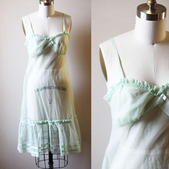 1960s sheer green slip //  1960s slip dress // vintage ruffle slip