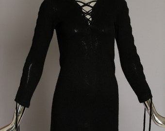 Alberoy 1960's Vintage Black Knit Lace-Up Sweater or Mini Dress