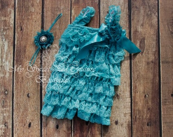 Teal Embelished Lace Petti Romper & Headband Set - Ruffle Romper Set- Petti Romper- Baby Romper- Headband- Photo prop- Birthday Outfit- Teal