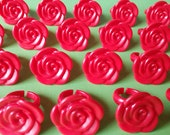 24 RED ROSE cupcake rings for Disney's Beauty and the Beast themed party toppers cake picks Birthday Party favor Goodie Bags Belle