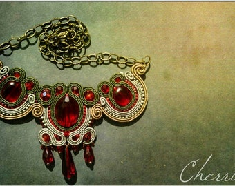 Red and Khaki small soutache necklace with bronze chains