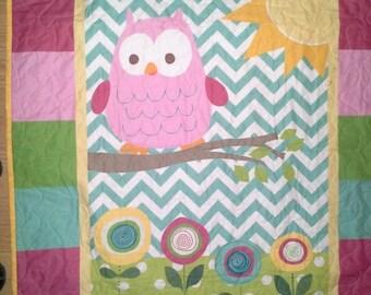 SALE Owl Girl Crib Nursery Owl Nursery Bedding Pink Teal Chevron Quilt Woodland Crib Toddler Flower Girl Bedding Toddler Cot Girl Baby Showe