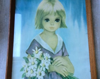 Vintage Big Eye Dallas Simpson Framed print of Little Girl holding a bunch of Flowers