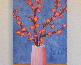 Japanese Quince in Pink Vase 10x20 original acrylic on canvas