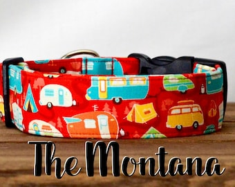 "Modern Red Camper Outdoors Dog Collar  ""The Montana"""