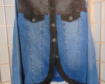 Southwestern Style Denim Jacket with Suede Trim and Faux Turquoise Buttons