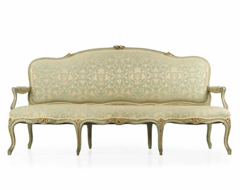 French Louis XV Style Green Painted Antique Settee Sofa, 19th Century, 611UPZ05P