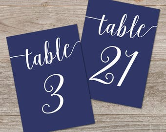Navy Table Numbers Printable 1-40 // Navy Wedding Decor // 5x7, 4x6 Table Number for Wedding