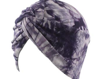 Soft Stretchy Turban Hat, Purple Dyed Pleated Turban Hat Headwrap