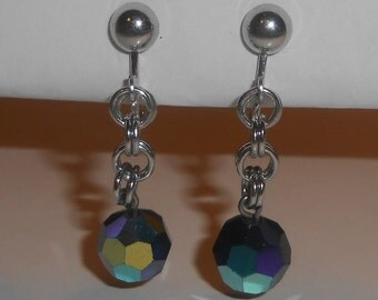 Vintage CELEBRITY Silver Tone Aurora Borealis (AB) Black 10mm Crystal Bead Dangle Clip On Earrings