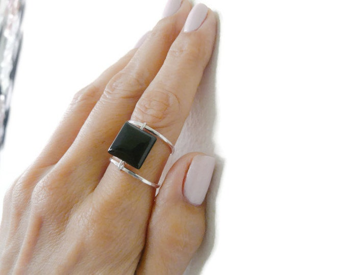 Sterling Silver Ring//Onyx Ring//Black Onyx Ring//Handmade Jewelry For Her