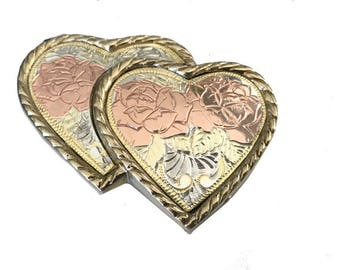 Vintage Gold and Silver Double Heart Belt Buckle - Engraved - Cowgirl -  Gift idea for women her - Girls - Rose - Two - Pink