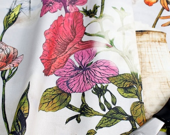Industrial floral flowers and cooling towers fabric for upholstery, soft furnishing, curtains and craft