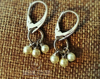 SageAine: Pearl Trinity  Sterling Silver Earrings, June Birthstone, Purity, Fidelity, Mother's Day,Bridal, Wedding, Gifts for her