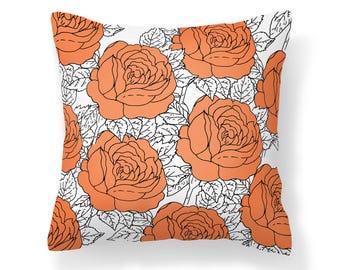 Orange Roses Pillow Cover - Flower Pillow Cover - Roses Pillow - 18x18 inch pillow - 20x20 inch pillow - Decorative Pillow Cover