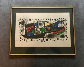 Vintage Joan Miro Star Scene framed lithograph