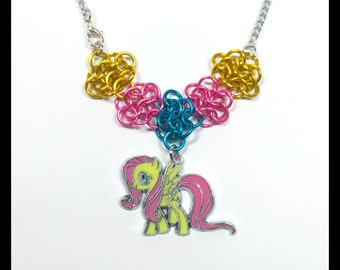 My Little Pony Fluttershy - Chainmaille Charm Necklace