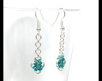 Sterling Silver Chainmaille Earrings - Mermaid Blue - Japanese Cross