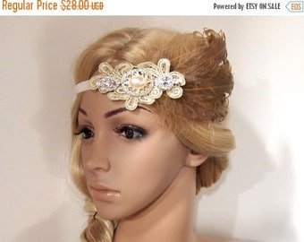 SALE Lace Gatsby headband, Flapper headband, Great Gatsby 1920 headpiece, Brown Feather headband, beaded headband, Roaring 20s headband