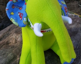 "Green Plush Elephant - ""Zoom"" - Planes, Trains and Automobiles"
