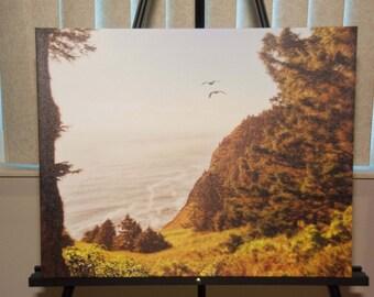Oregon Beach photo, HDR photograph, Orange, green, brown, 16x20 Canvas photography print, Oregonian Dream