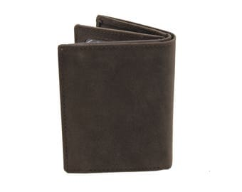 Men Slim Trifold Book Genuine Leather Wallet Coins Card Cash Hunter Brown 215