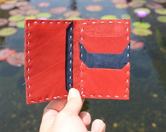 Unisex wallet Small Red handmade Genuine Leather Bifold pocket coins credit cards 1812