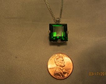Beautiful, Large Square Cut Moldavite(Natural Glass) Pendant