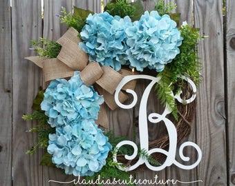 Year Round Wreath,Spring Wreath,Spring Door Decor,Grapevine Wreath,Monogrammed Wreath,Mother's Day Gift,Wreaths,Hydrangea Wreath  For Door
