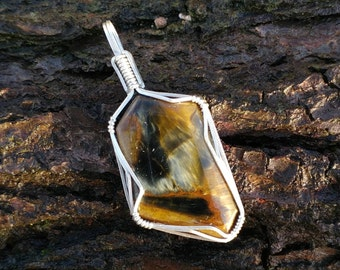 Pietersite sterling silver wire wrapped pendant