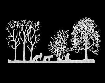 Winter Trees Scene Foxes Embroidery Machine Design