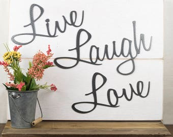 Live Laugh Love Wall Decor   Patio Decor   Lake House Decor   Metal Wall Art   Wall Hanging   Home Decor   Sign   Metal Art   Script