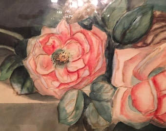 Antique Watercolor Pink Roses